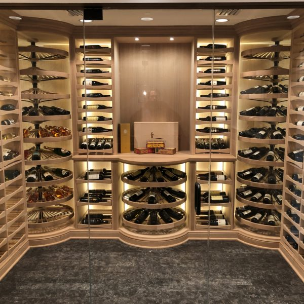 Washington Custom Wine Cellar in White Oak